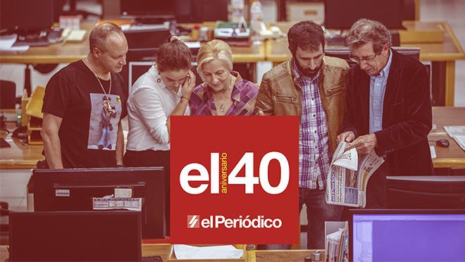 Cinco lectores visitan la redacción de El Periódico con motivo del 40 aniversario.