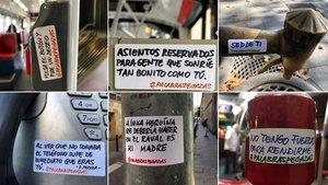 Algunas de las pegatinas callejeras que recoge la cuenta de Instagram @palabraspegadas.