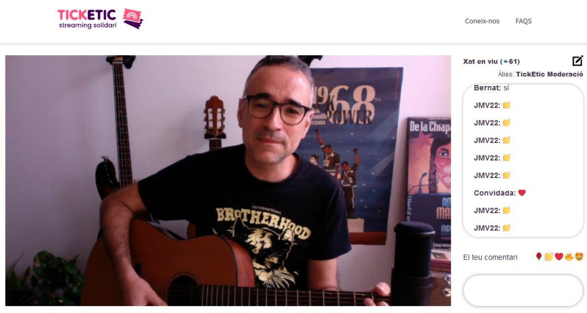Una imagen de Xavi Sarrià, durante su concierto en 'streaming'.