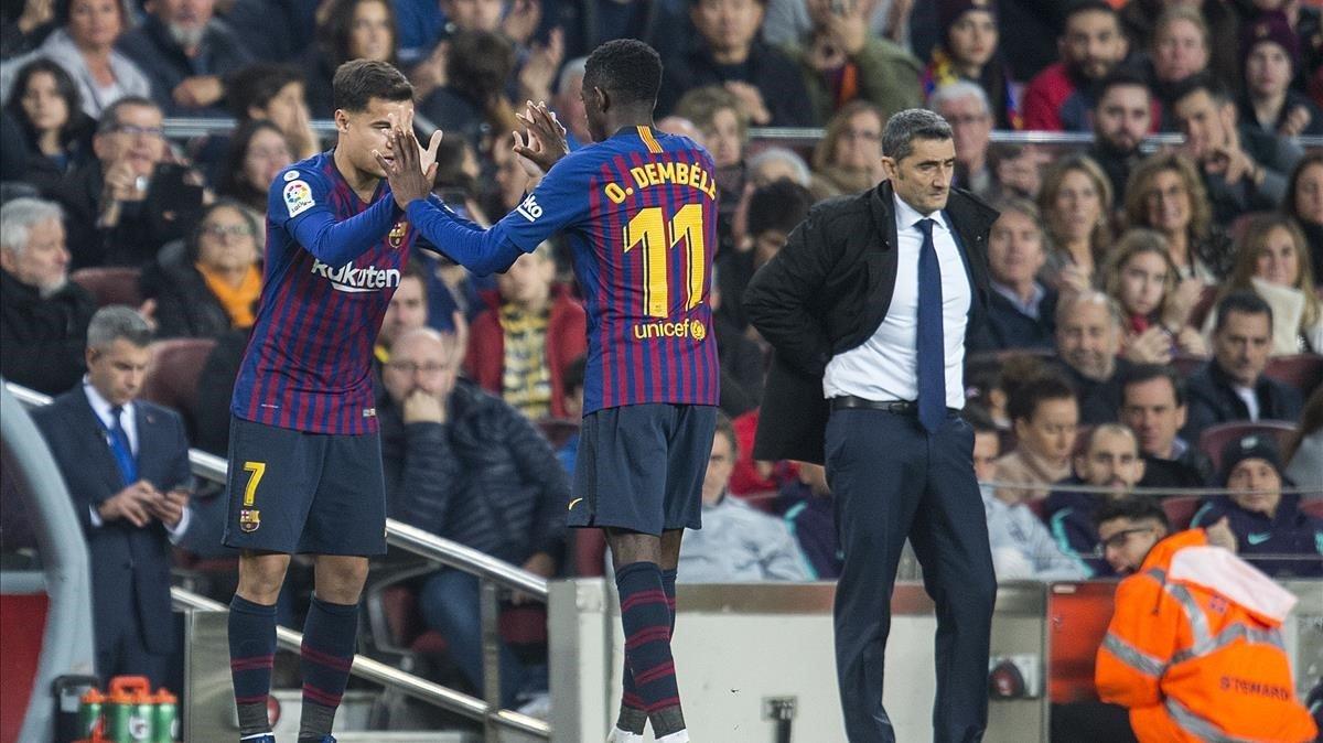 Coutinho suple a Dembélé en el partido entre el Barça y el Celta.