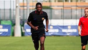 Dembélé, durante un entrenamiento en la Ciutat Esportiva.
