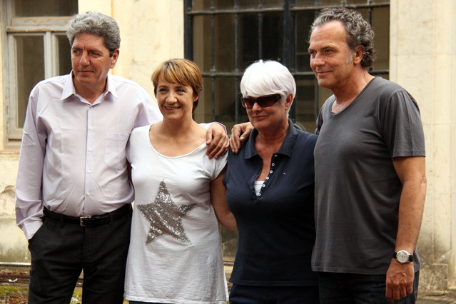 La directora de Secuestro, Mar Targarona, con los actores José Coronado, Blanca Portillo y Antonio Dechent
