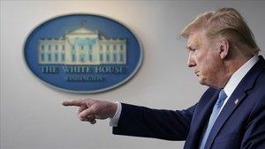 Donald Trump, durante la rueda de prensa que ha dado sobre el coronavirus este lunes, en la Casa Blanca.