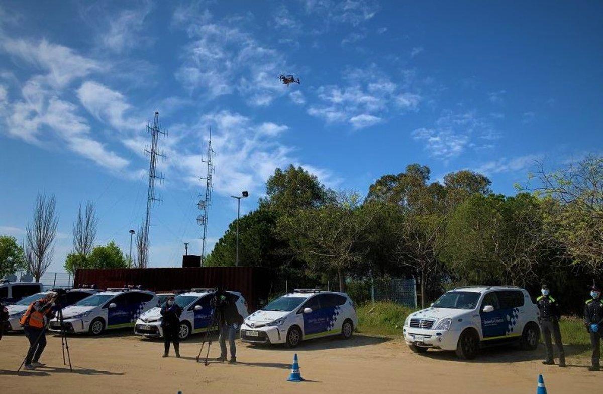 Un dron policial de la Guardia Urbana de Badalona.