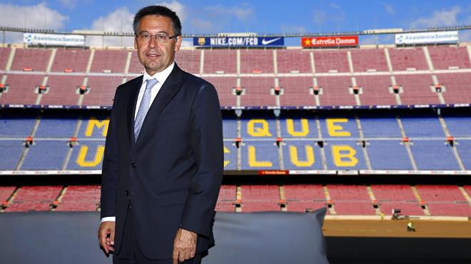 El presidente del Barça habla para EL PERIÓDICO en el palco del Camp Nou.