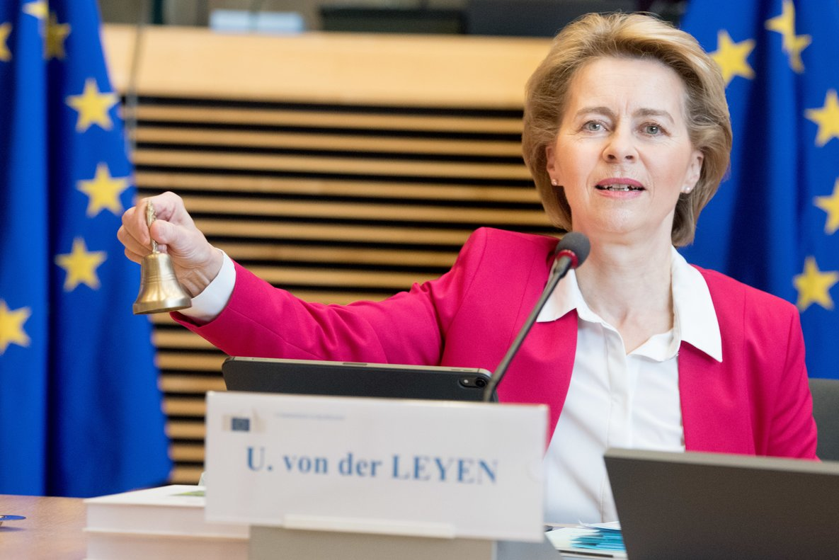 HANDOUT - 27 May 2020, Belgium, Brussels: European Commission President Ursula von der Leyen announces the start of the commission weekly meeting. Photo: Etienne Ansotte/European Commission/dpa - ATTENTION: editorial use only and only if the credit mentioned above is referenced in full