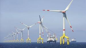 Parque de energia eólicaBARD Offshore1,situado a 100 kilometros de la costa de Borkum, en Alemania.