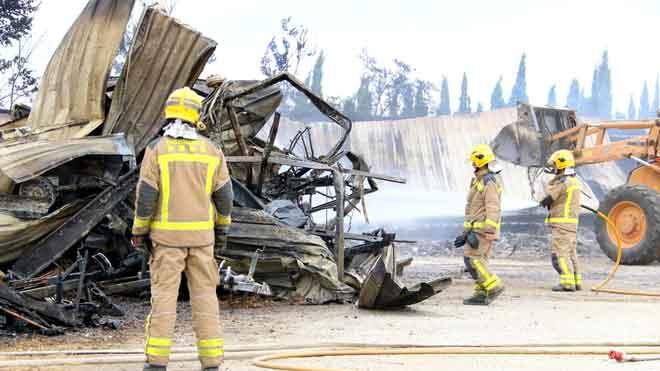 Incendio en un aparcamiento de caravanas en Ventalló.