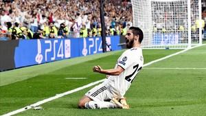 Isco celebra un gol ante el Roma en la Champions.