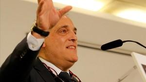 Javier Tebas, durante su discurso enun desayuno de Europa Press.