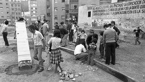 Protesta vecinal en Pubilla Casas, en 1980.