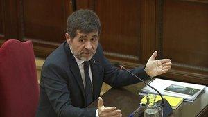 Jordi Sànchez, durante su declaración en el juicio del 'procés', el pasado febrero, en el Tribunal Supremo.