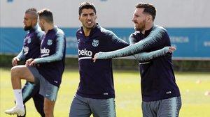 Leo Messi y Luis Suárez, en un entrenamiento del Barça.