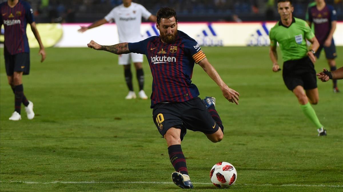 Leo Messi, en la Supercopa de Tánger.