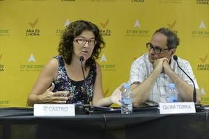Liz Castro y Quim Torra, en la sede de la ANC.