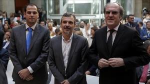 Los líderes de Ciudadanos, Podemos y el PSOE en la Asamblea de Madrid en una imagen reciente