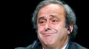 Michel Platini, en una de sus comparecencias cuando pretendía suceder a Joseph Blatter en la FIFA.