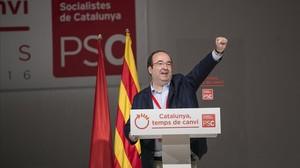El primer secretario del PSC, Miquel Iceta, en la clausura del 13º congreso del PSC, en Barcelona.