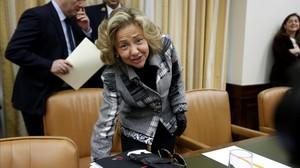 La nueva fiscala general del Estado, Consuelo Madrigal, este jueves en el Congreso.