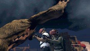 Dos jugadores ametrallan monstruos virtuales en Red Helmet.