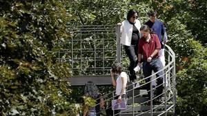 Pablo Iglesias, Íñigo Errejón, Carolina Bescansa e Irene Montero, este jueves, durante en acto de Podemos.
