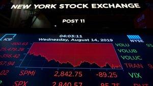 Panel con la caída de Wall Street de este miércoles.