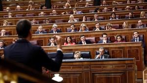 Pedro Sánchez durante la sesión de control al Ejecutivo.