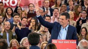 Pedro Sánchez, en e1 acto electoral que su partido celebra hoy en Sevilla.