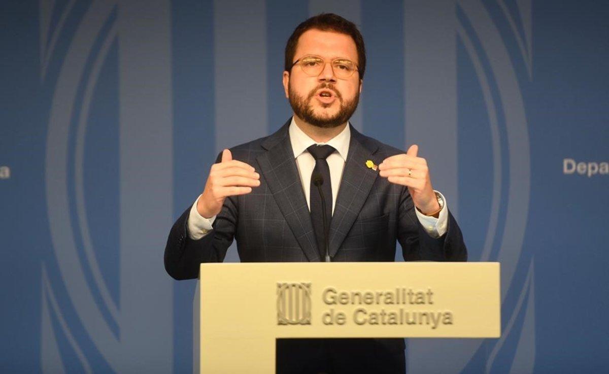 Pere Aragonès, en rueda de prensa.