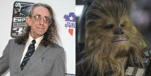Peter Mayhew junto a su caracterización como Chewbacca en 'Star Wars'.