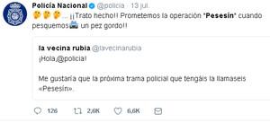 El tuit de la Policía sobre la operación Pesesín.