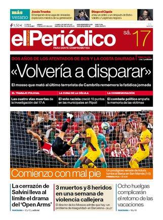 La portada de EL PERIÓDICO del 17 de agosto del 2019