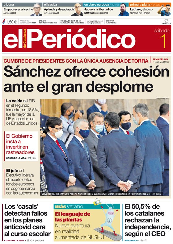 La portada de EL PERIÓDICO del 1 de agosto del 2020