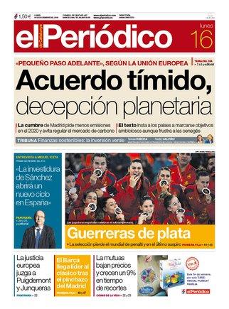 La portada de EL PERIÓDICO del 16 de diciembre del 2019.