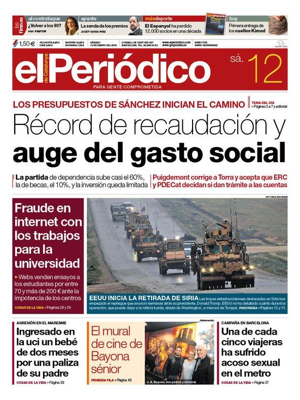 La portada de EL PERIÓDICO del 12 de enero del 2019