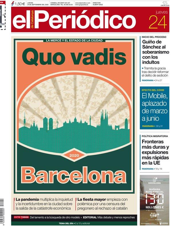 La portada de EL PERIÓDICO del 24 de septiembre del 2020.