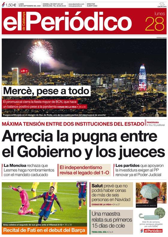 La portada de EL PERIÓDICO del 28 de septiembre del 2020.
