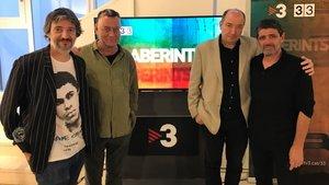 Josep Perelló, Manuel Guerrero, Vicent Sanchis y Ramon Millà en la presentación de 'Laberints', el nuevo programa del canal 33.