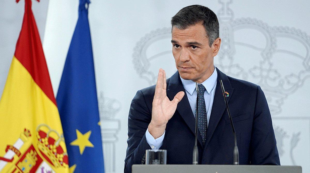 El presidente del Gobierno, Pedro Sánchez, durante la rueda de prensa posterior al Consejo de Ministros, el 25 de agosto.