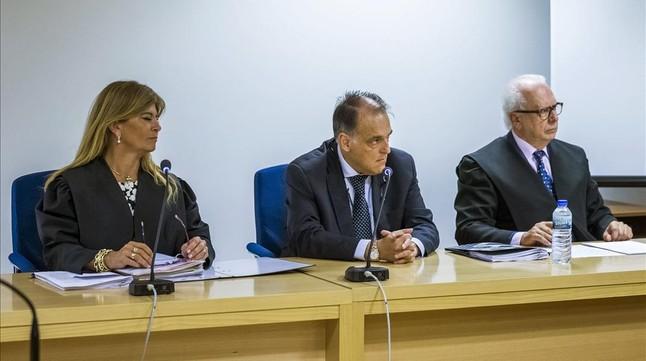 El presidente de la LFP, Javier Tebas durante la vista celebrada este miércoles en la Sala de lo Social de la Audiencia Nacional, Madrid.