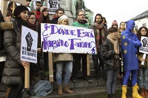 Protesta a Brussel·les de la comunitat d'Erasmus espanyols el novembre passat. EFE / ALFREDO LÓPEZ CALBACHO