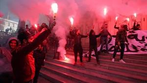 Protestas en Túnez en el séptimo aniversario de la revolución.