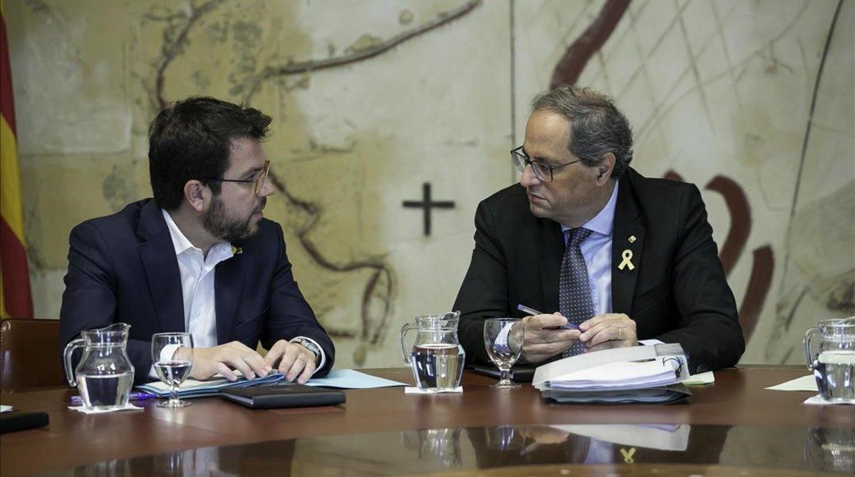 Quim Torra y Pere Aragonès, en la reunión del Consell Executiu en la Generalitat.