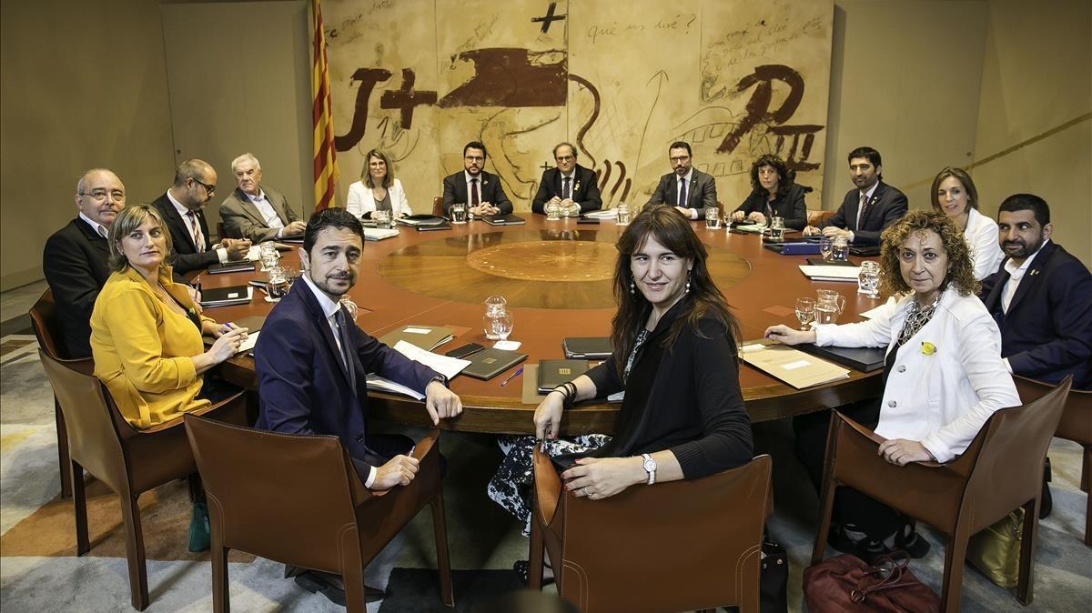 Reunión de Govern en el Palau de la Generalitat, presidido por Quim Torra.