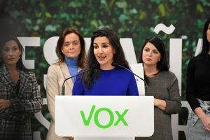 GRAF2510. MADRID, 20/11/2019.- La portavoz de Vox en el Parlamento madrileño, Rocío Monasterio, durante la rueda de prensa esta mañana en la sede madrileña de esta formación.- EFE/Víctor Lerena