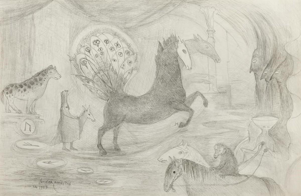 Sin título (caballos), de Leonora Carrington, en la exposición Mujeres surrealistas de la galería Mayoral.