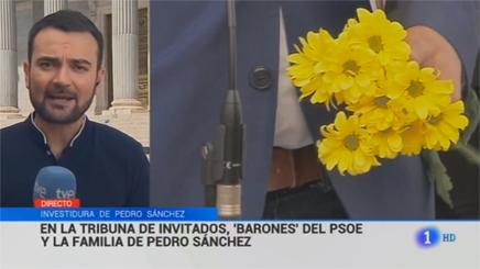 El 'Telediario' (TVE-1) ante las margaritas.