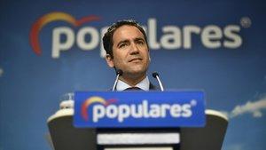 Teodoro García Egea, secretario general del PP, durante su comparecencia ante los medios de este martes, tras la reunión del Comité de Dirección del partido.