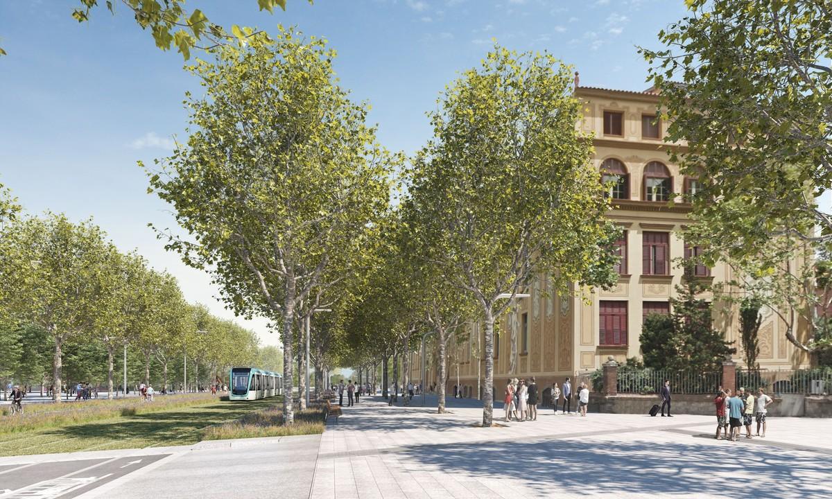 Imagen virtual del tranvía a su paso por el cruce de Aragó con Sardenya y la Diagonal.