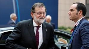 Mariano Rajoy, a su llegada a la cumbre en Bruselas.